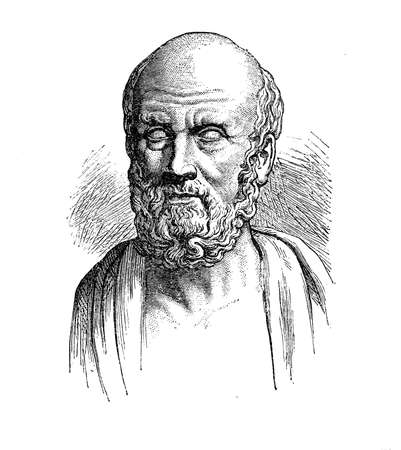 Hippocrates of Kos greek physician outstanding figure of the medicine history, founder of the Hippocratic School of Medicine, establishing thus medicine as a profession. Stock Photo - 66234887