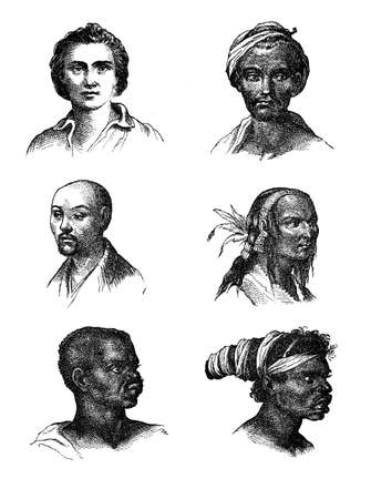 somatic: Vintage engraving representing the human races somatic diversity, representation of XIX century