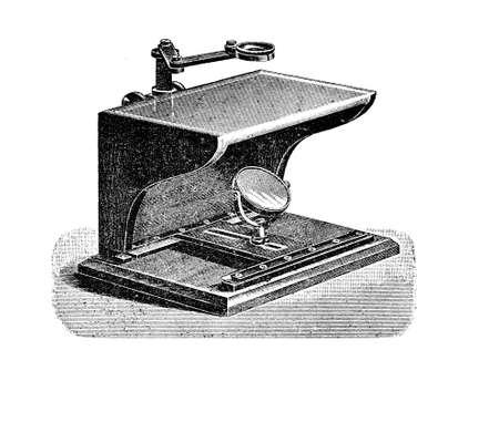 Description of a Seibert microscope, vintage engraving XIX century Stock Photo