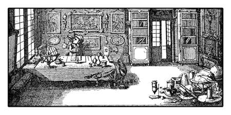 xviii: Decription of the workroom of a scientist microscopist exploring the microworld in XVIII century
