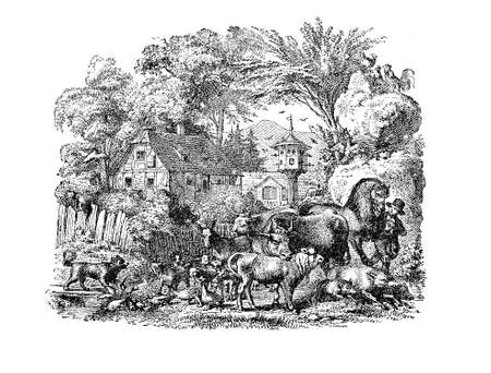 the courtyard: Idyllic representation of a farm lifestyle, with a young farmer surrounded of every kind of domestic animals living in the courtyard Stock Photo