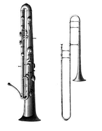 Musical brass instruments, ophicleide (tuba) and trombone, XIX century engraving