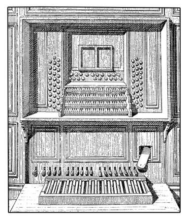 secular: Representation of a wooden pipe organ console with plenty of keyboards, registers and pedals, XIX century engraving Stock Photo