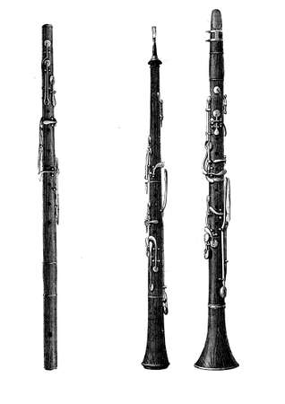 flute structure: Musical wind instruments, oboe, clarinet and flute, XIX century vintage engraving Stock Photo