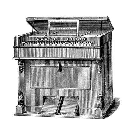 flute key: Pump organ or harmonium smaller than pipe organ, used in XIX century in small churches and private houses Stock Photo