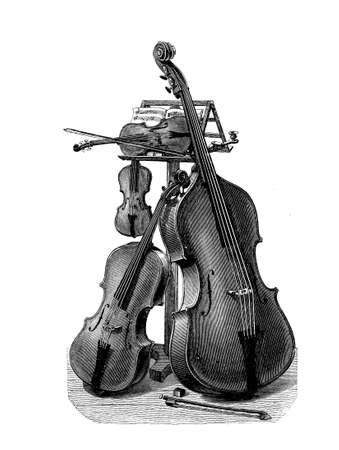 cellos: Music, string quartet instruments ready for the performance, beautiful vintage engraving Stock Photo