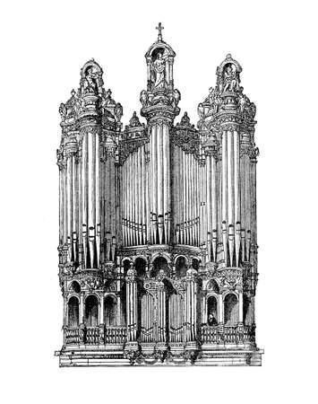 surmounted: Musical instruments, church pipe organ surmounted by religious decorations and statues