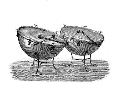bass drum: Percussion musical instruments; timpanis or kettledrums made by a skin stretched on a copper bowl
