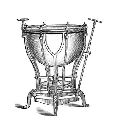 tension: Machine timpani musical instrument with mechanical tension adjusting system, XIX century engraving