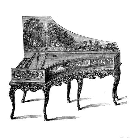 xviii: Gran piano richly decorated with painted cover and  fashioned legs, XVIII century Stock Photo