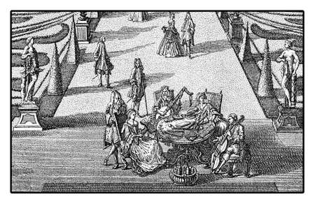 18th: Marriage feast and leisure celebration with music entertainment in garden, engraving 18th  century