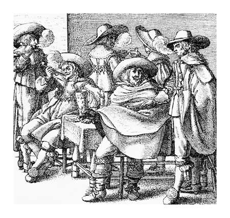 mantel: Lifestyle and leisure in XVII century, men smoking and chatting cozy together Stock Photo