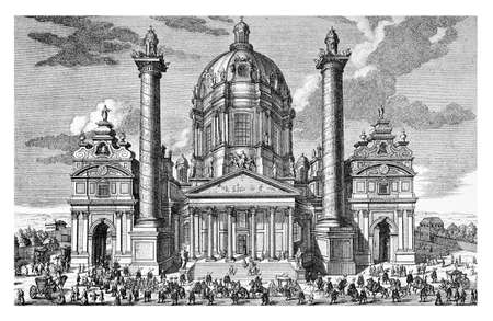 xviii: Beautiful engraving of St. Charles Church (Karlskirche) in Vienna in outstanding baroque style with the ellipsoidal dome and the flanking columns, early XVIII century engraving Stock Photo