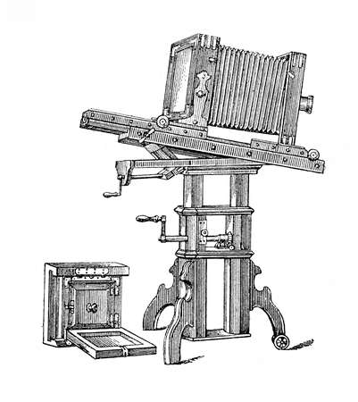 bellow: Bellows camera and atelier equipment, vintage engraving XIX century
