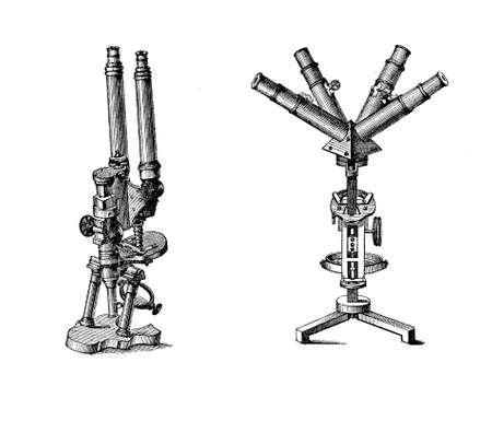 Laboratory equipment at end XIX century, Binocular and quadriocular microscope