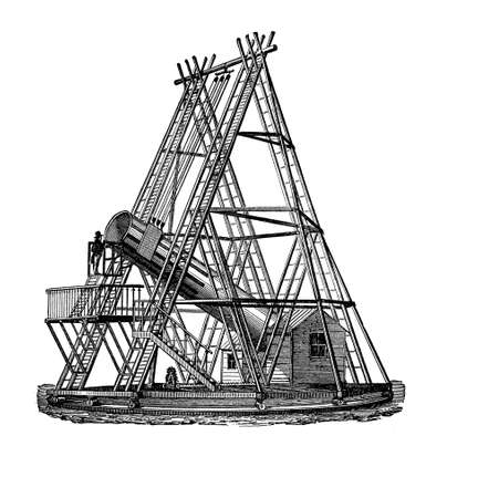 xviii: Large telescope built in 1774 by Frederick William Herschel German Astronomer, from his observation he discovered Uranus planet, the first planet to be discovered since antiquity