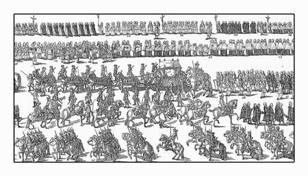 Solemn and festive procession for the visit of pope Pius VI in Augsburg, Germany year 1782