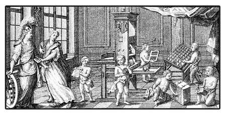 antique books: XVIII century engraving with allegory of print workshop with wooden press and movable character types Stock Photo