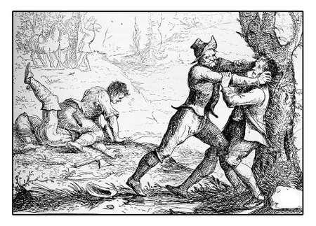robbery: 1643 engraving, bandits make ambush for robbery Stock Photo