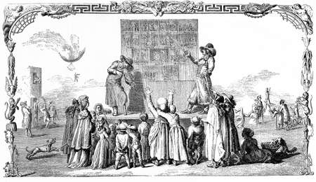 Street education, teaching good manners to the people, vintage engraving 18th century Stock Photo