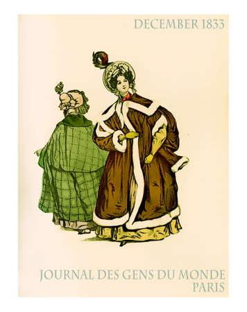 Paris winter fashion outdoors, vintage magazine 1833 ladies with hat and oversize cape coats