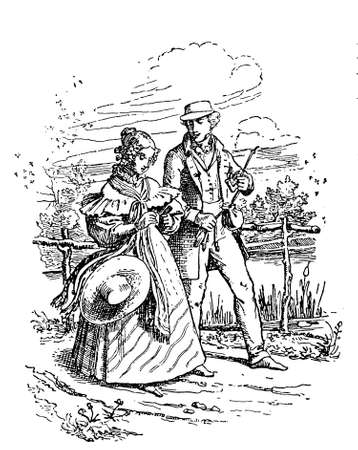 rural road: Young couple promenading on rural road in countryside, XIX century fashion