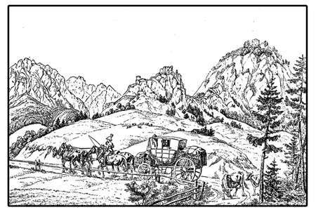 stage coach: Vintage engraving of a stage coach at the Barriere at the Castle of Ehrenberg on the Alps Stock Photo