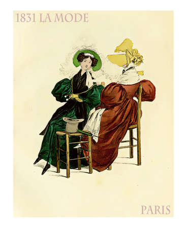1831 fashion, french magazine La Mode presents two ladies dressed in bold colors with hats and laces sitting and chatting Stock Photo