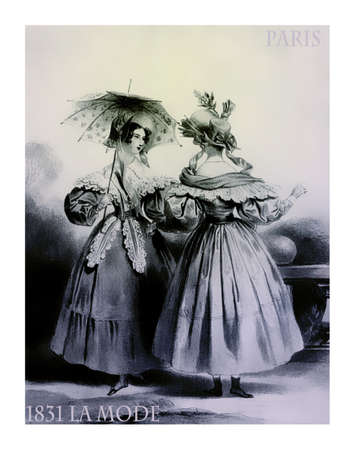 french fancy: 1831 fashion, French magazine La Mode presents two ladies standing outdoor chatting leisurely with fancy cloths and parasol Stock Photo
