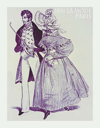 french fancy: 1831 fashion, French magazine La Mode presents gentleman and lady with fancy cloths for outdoor promenade Stock Photo