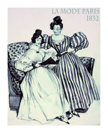 french fancy: 1832 fashion, french magazine La Mode presents two young ladies at home with fancy dresses and hairdo