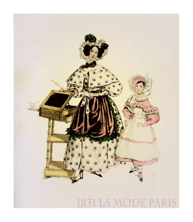1831 fashion, French magazine La Mode presents lady with girl with fancy dress, frills, hat and apron indoors