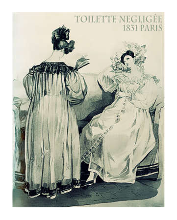 french fancy: French 1831 fashion,  two young ladies reading at home with fancy dressing gown and hairdo Stock Photo