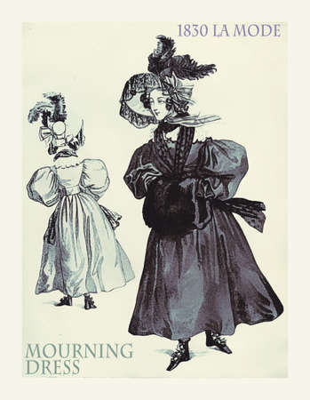 1830 fashion, french magazine La Mode presents a mourning dress with hat and  fur muff in black