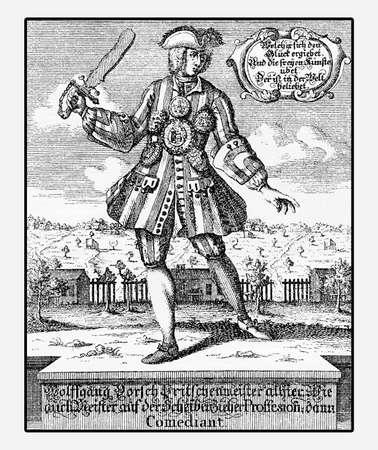 Portrait of Wolfgang Dorsch famous German comedian and performer in Nuremberg XVIII century, vintage engraving