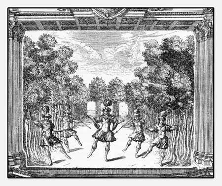 stage costume: Renaissance ballet performance at stage in Heidelberg castle, year 1684 vintage engraving