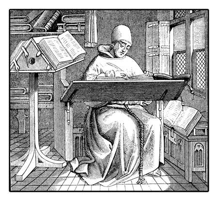 Medieval monk copying an ancient manuscript, engraving