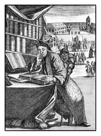 Portrait of student absorbed in book reading, XVIII century engraving Stock Photo