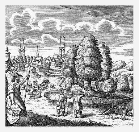 stanza: Book cover about pastoral poems and lyrics , Nuremberg XVII century