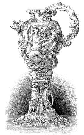 Artistic carved pitcher of ivory describing Venus triumph, XVII century