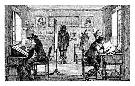 gravure: Copper gravures medieval workshop, vintage engraving Stock Photo