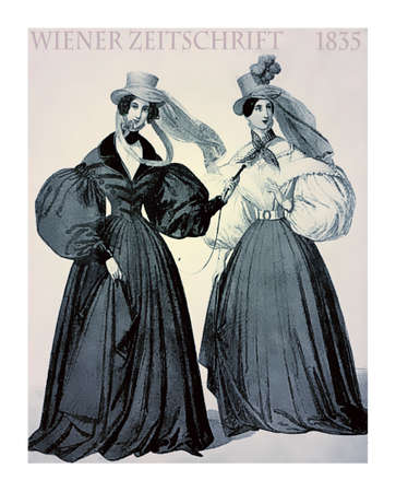 Vienna 1835 fashion, two young ladies elegant dressed with hat and scarfs for a walk with winding weather outdoors