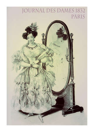 french fancy: French 1832 fashion, young lady elegant dressed for an evening and mirror reflecting the fancy dress