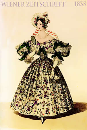 Vienna 1835 fashion, young lady elegant dressed with fancy floral cloth looking in the mirror