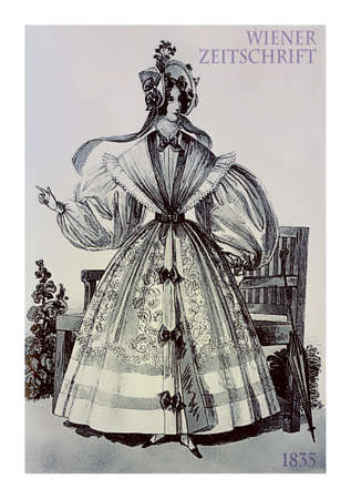 Vienna 1835 fashion, young lady elegant dressed in garden with parasol, hat, frills and bows
