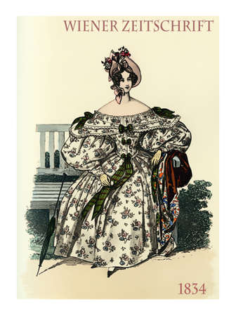 wiener: Vienna 1834 fashion, young lady elegant dressed sitting in garden with parasol