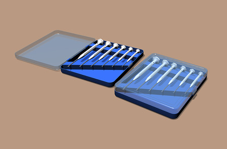 Precision mini screwdriver set in toolbox, philips and slotted. 3D rendering.
