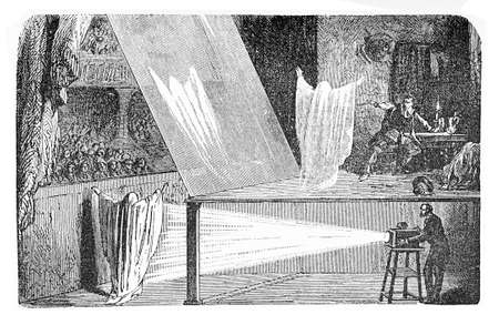 John Pepper optical illusion performed in theater; suddenly a ghost appears fading in and out. Stock Photo