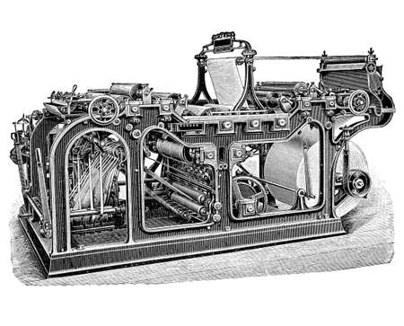 Rotary printing press for mass production of newspapers and magazines, XIX century engraving