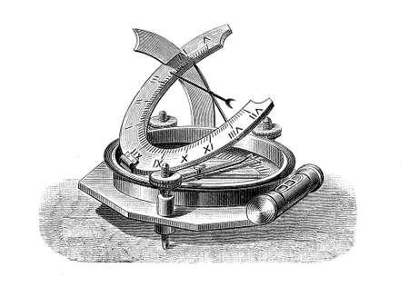 sun dial: Sundial, portable timepiece in use around XVI century Stock Photo